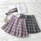Plaid High-waist Acrylic Pleated Skirt