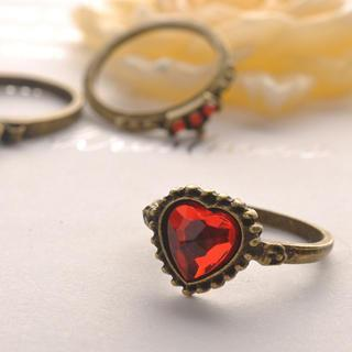 Heart Crown Three-pieces Set Ring Copper - One Size