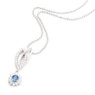 18k White Gold Pendant With Diamonds And Blue Sapphire