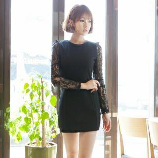 Lace-sleeve Sheath Dress