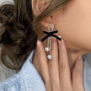 Ribbon Rhinestone Faux Pearl Fringed Earring