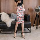 Flamingo Print Slit-back Midi Pencil Skirt
