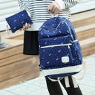 Set Of 2: Bow Print Canvas Backpack + Coin Purse