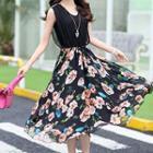 Sleeveless Floral Panel Silk Dress