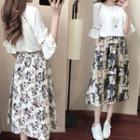 Set: Bell-sleeve Chiffon Blouse + Printed Midi Skirt