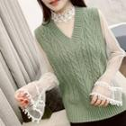 Long-sleeve Lace-trim Mesh Top