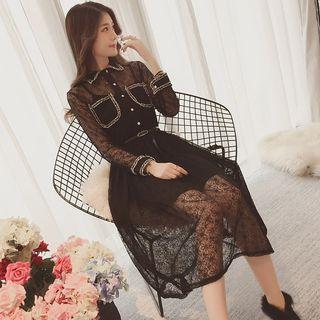 Set: Contrast Trim Long-sleeve A-line Midi Lace Dress + Strappy Dress