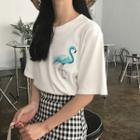Flamingo Applique Short-sleeve T-shirt