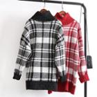 Check Turtleneck Long Sweater