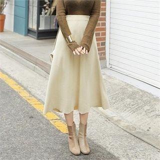 Band-waist Knit Midi Flare Skirt