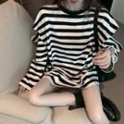 Crewneck Striped Split Top As Shown In Figure - One Size