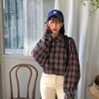 Drop-shoulder Plaid Oversized Shirt