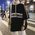 Lettering Elbow-sleeve Stand Collar T-shirt