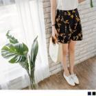 Floral Print A-line Shorts