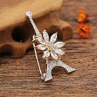 Rhinestone Flower & Eiffel Tower Brooch Silver & Gold - One Size