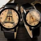 Couple Matching Eiffel Tower Print Strap Watch