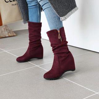 Hidden-wedge Midi Calf Boots