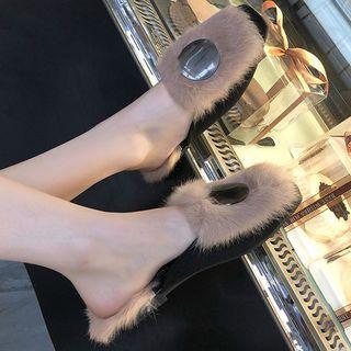 Square-toe Metal Disc Furry Mules
