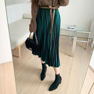 Beribboned Velvet Long Pleated Skirt