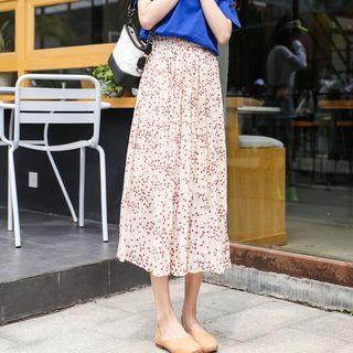Heart Print Pleated Midi Skirt