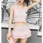 Set: Gingham Bikini Top + Swim Skirt