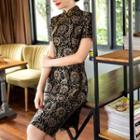 Patterned Short-sleeve Qipao