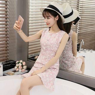 Floral Print Buttoned Sleeveless Sheath Dress