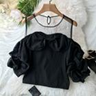 Puff Sleeve Cold Shoulder Blouse