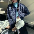 Flower Loose-fit Cardigan / Plain Turtle-neck Top