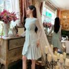Long Sleeve Ruffled Chiffon Dress