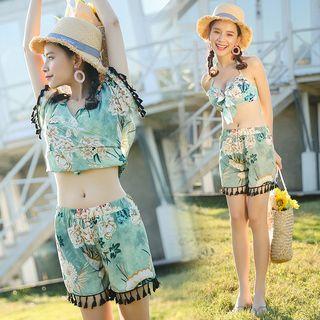 Set: Floral Print Bikini + Tassel Top + Shorts