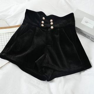 Faux Pearl Wide-leg Shorts