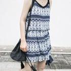 Sleeveless Patterned Tie Waist Dress
