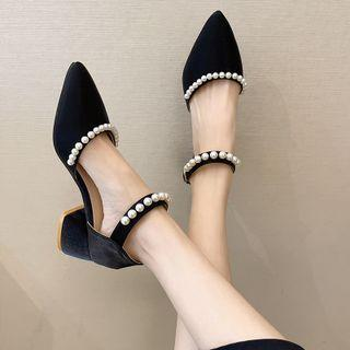 Faux Pearl Pointy-toe Ankle-strap Chunky-heel Pumps