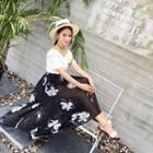 Floral Print Slit Maxi Skirt
