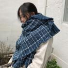 Fringed Plaid Scarf As Shown In Figure - One Size