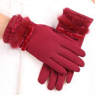Lace Trim Woolen Touchscreen Gloves