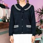 Tie-neck Sailor-collar Cardigan