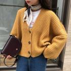 Lace Trim Sleeveless Midi Dress / V-neck Cardigan