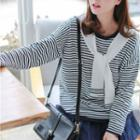 Striped Tie-front Knit Top