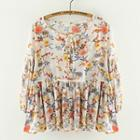 3/4-sleeve Floral Blouse