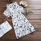 Printed Lace-up Chiffon Dress