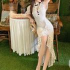 Ruffle Hem Dotted Short-sleeve Sheath Dress