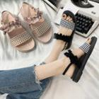 Ruffle Accent Ankle Strap Sandals