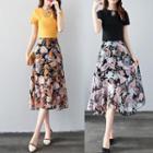 Set: Top + Printed Chiffon Skirt