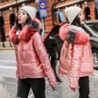 Furry Trim Metallic Padded Jacket