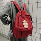 Bear Brooch Nylon Backpack