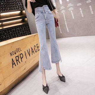 High-waist Asymmetric Bell-bottom Split Hem Jeans