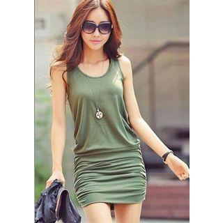 Sleeveless Shirred Sheath Dress Green - One Size