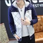 Color Panel Printed Hooded Zip Jacket